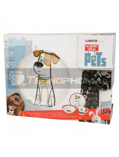 Set cerámico de merienda en caja regalo Mascotas 8412497467655