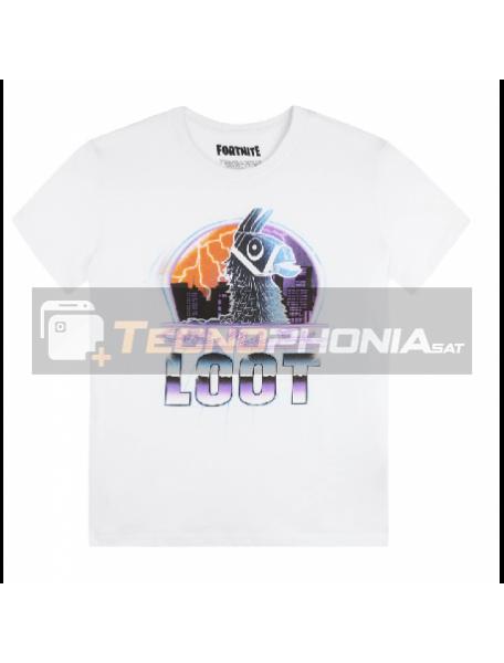 Camiseta infantil Fortnite T.14 Loot blanca