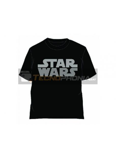 Camiseta Star Wars logo gris talla L