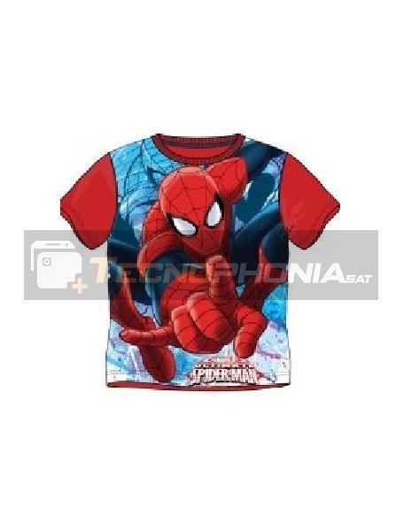 Camiseta niño manga corta Spiderman roja 10 años