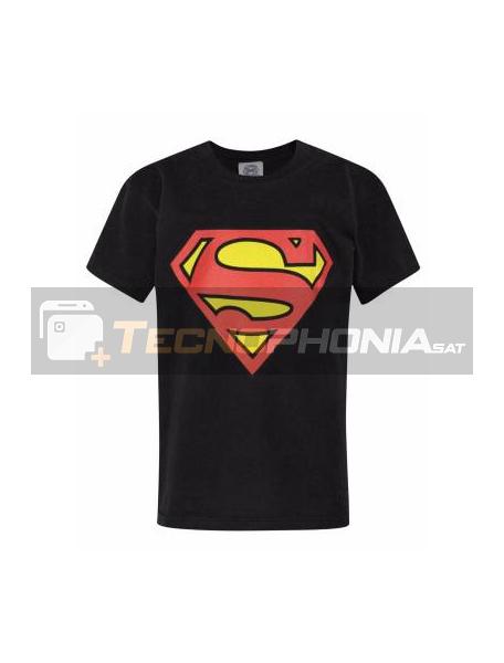 Camiseta adulto manga corta Superman negra Talla M