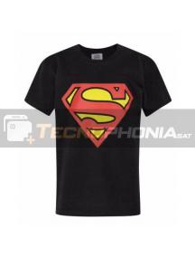 Camiseta adulto manga corta Superman negra Talla S