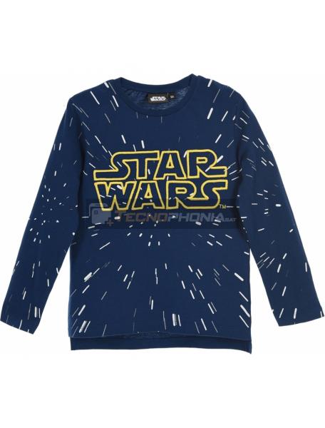 Camiseta niño manga larga Star Wars logo bordado azul RH1149 10 años
