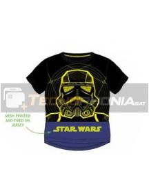 Camiseta niño manga corta Star Wars - Stormtrooper negra - azul 10 años