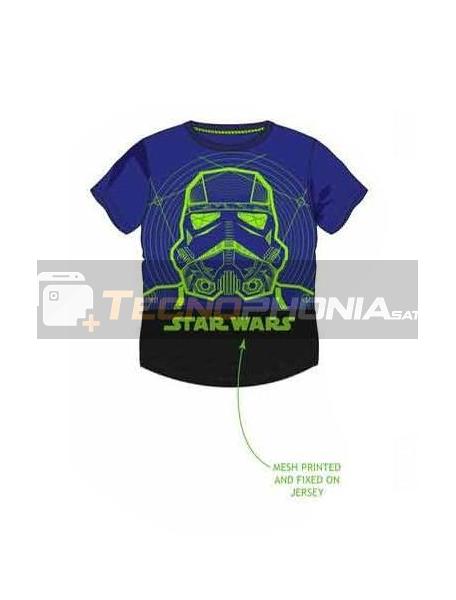 Camiseta niño manga corta Star Wars - Stormtrooper azul - negra 4 años