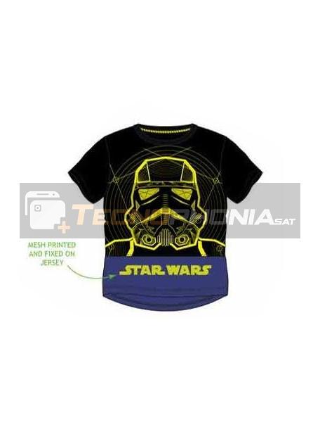 Camiseta niño manga corta Star Wars - Stormtrooper negra - azul 4 años