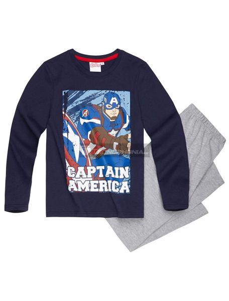 Pijama manga larga niño Capitán América azul - gris 8 años 128cm