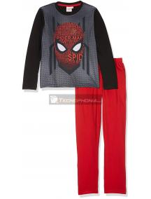 Pijama manga larga niño Spider-man negro - gris - rojo 8 años 128cm