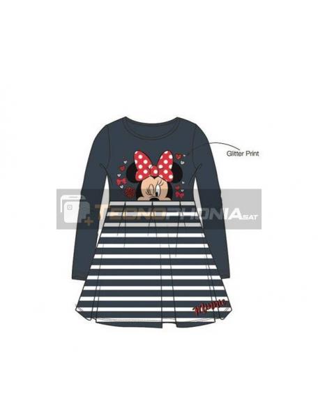 Vestido niña manga larga Minnie Mouse gris - blanco 8 años