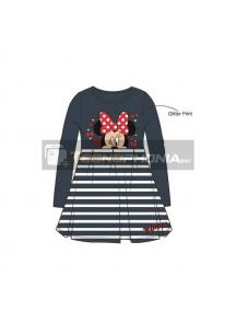 Vestido niña manga larga Minnie Mouse gris - blanco 2 años