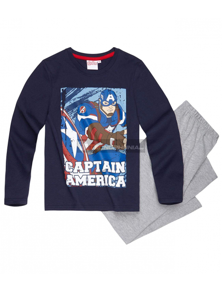 Pijama manga larga niño Capitán América azul - gris 12 años 152cm