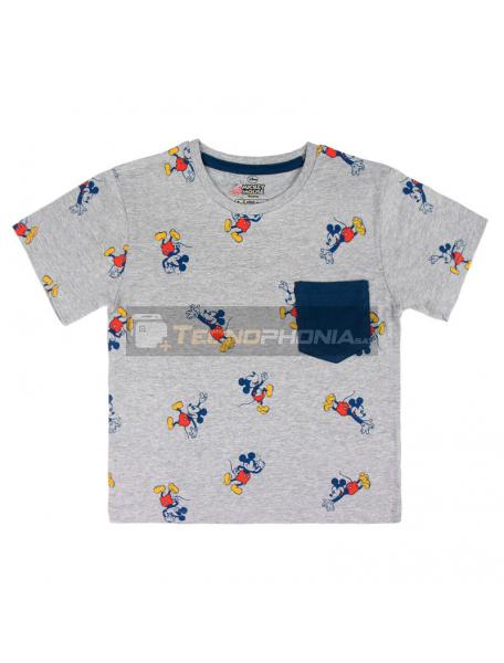 Camiseta Mickey Disney premium gris - azul 6 años