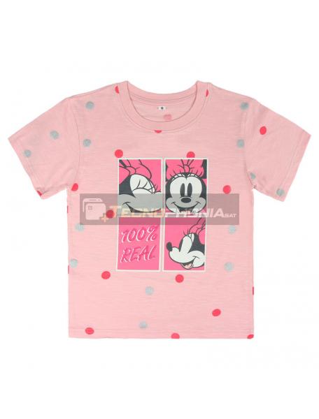 Camiseta Minnie Disney premium rosa lunares 6 años