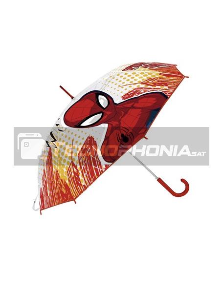 Paraguas Manual Transparente Spider-man Marvel 46cm rojo