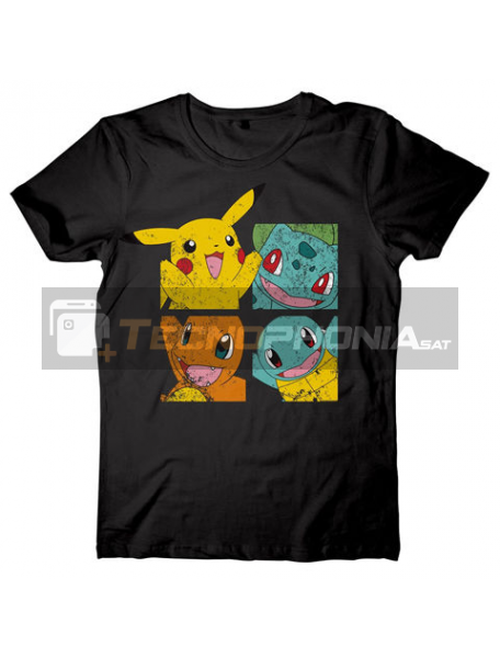 Camiseta manga corta Pokemon Personajes negra Talla M