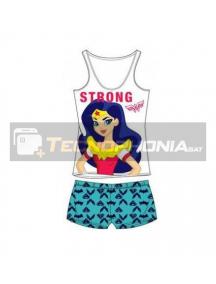 Pijama niña verano Super Hero Girls - Wonder Woman Strong 8 años