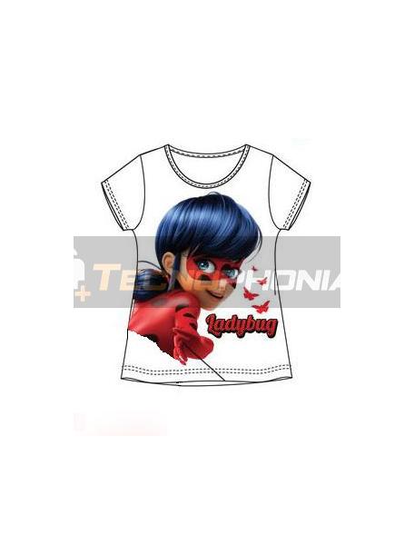 Camiseta niña manga corta Lady Bug blanca 5 años