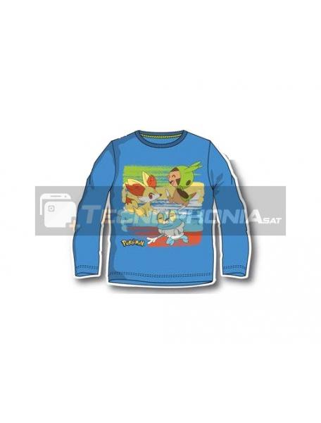 Camiseta infantil manga larga Pokemon azul 10 años