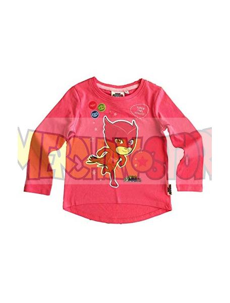 Camiseta niña manga larga PK Masks - Buhita rosa fucsia 6 años