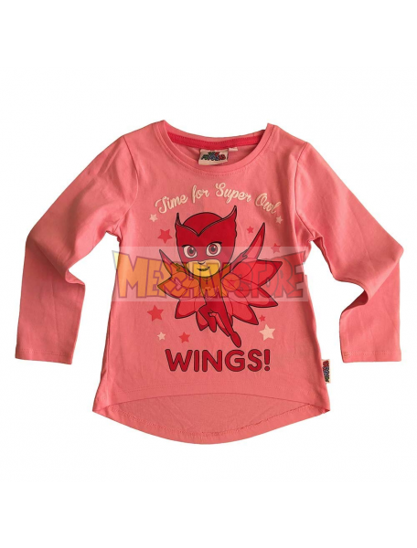 Camiseta niña manga larga PK Masks - Buhita rosa 6 años