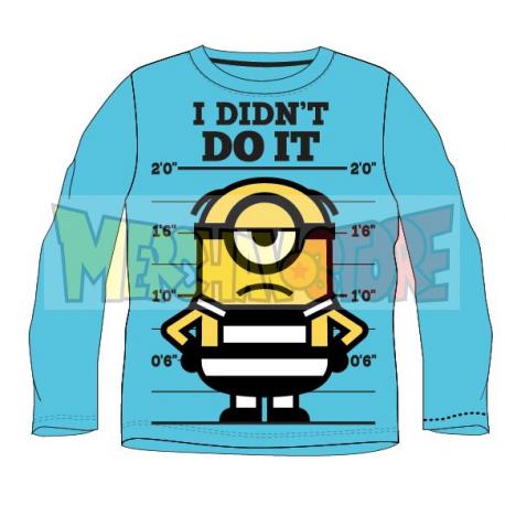 Camiseta niño manga larga Minions - I didn't do it celeste 5 años 110cm