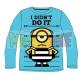 Camiseta niño manga larga Minions - I didn't do it celeste 7 años 122cm