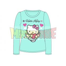 Camiseta niña manga larga Hello Kitty - Angel corazón turquesa 5 años 110cm