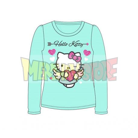 Camiseta niña manga larga Hello Kitty - Angel corazón turquesa 8 años 128cm
