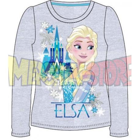 Camiseta manga larga niña Frozen - Elsa castillo gris 5 años 110cm