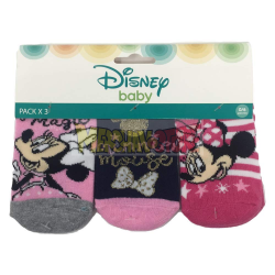 Pack de 3 calcetines bebé Disney - Minnie Mouse rosa 0-6 meses