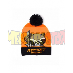Gorro de punto Rocket Racoon naranja - negro