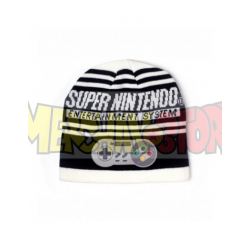 Gorro de punto Super Nintendo blanco y negro