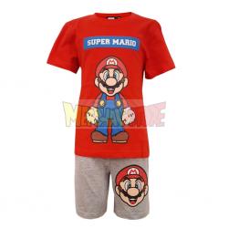 Pijama manga corta niño Super Mario 10 años - 140cm rojo - gris