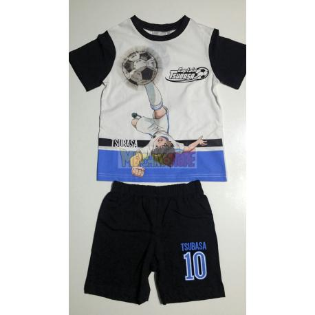 Pijama verano niño Captain Tsubasa - Campeones Oliver y Benji blanco - negro 4 años 104cm