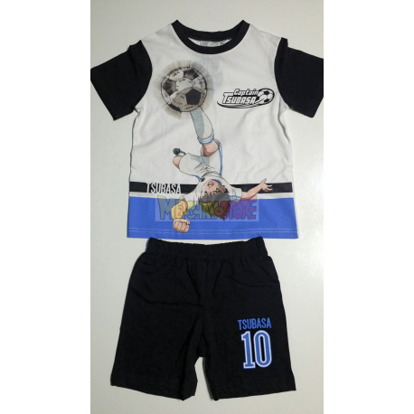 Pijama verano niño Captain Tsubasa - Campeones Oliver y Benji blanco - negro 6 años 116cm