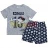 Pijama verano niño Captain Tsubasa - Campeones Oliver y Benji gris - azul 4 años 104cm