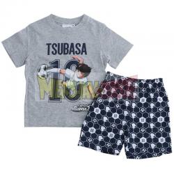 Pijama verano niño Captain Tsubasa - Campeones Oliver y Benji gris - azul 6 años 116cm