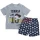 Pijama verano niño Captain Tsubasa - Campeones Oliver y Benji gris - azul 10 años 140cm