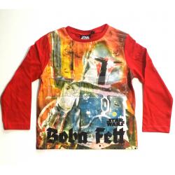 Camiseta niño manga larga Star Wars - Boba Fett 4 años 104cm roja