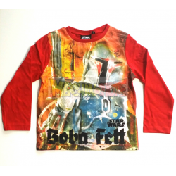 Camiseta niño manga larga Star Wars - Boba Fett 8 años 128cm roja