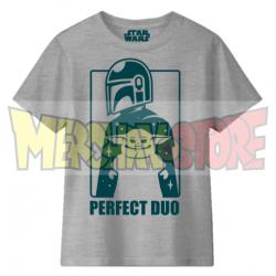 Camiseta infantil Star Wars - Mandalorian Perfect Duo gris 8 años 128cm