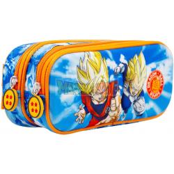 Estuche portatodo 3D Dragon Ball Super doble cremallera 10x22,5x7cm azul