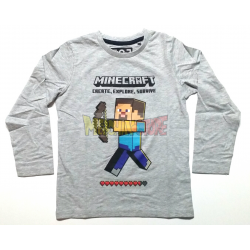 Camiseta niño manga larga Minecraft gris Steve 10 años 140cm