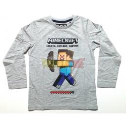 Camiseta niño manga larga Minecraft gris Steve 12 años 152cm