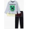 Pijama manga larga niño Minecraft gris - negro 10 años 140cm