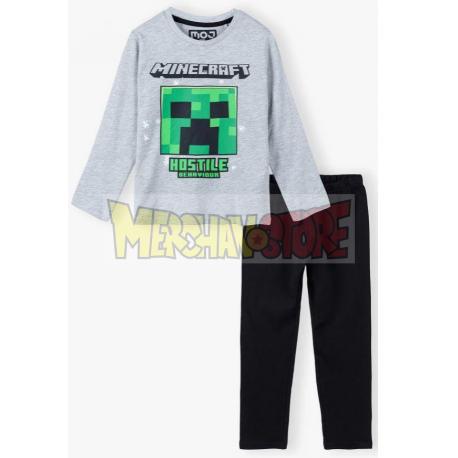 Pijama manga larga niño Minecraft gris - negro 12 años 152cm