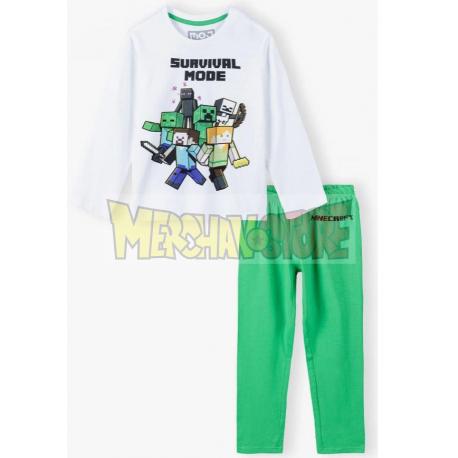 Pijama manga larga niño Minecraft blanco - verde 8 años 128cm