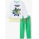 Pijama manga larga niño Minecraft blanco - verde 9 años 134cm