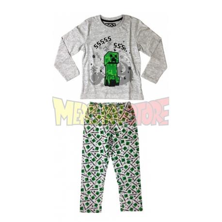 Pijama manga larga niño Minecraft gris Creeper SSSSS 8 años 128cm