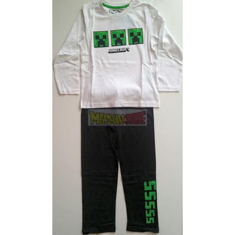 Pijama manga larga niño Minecraft blanco - negro 8 años 128cm